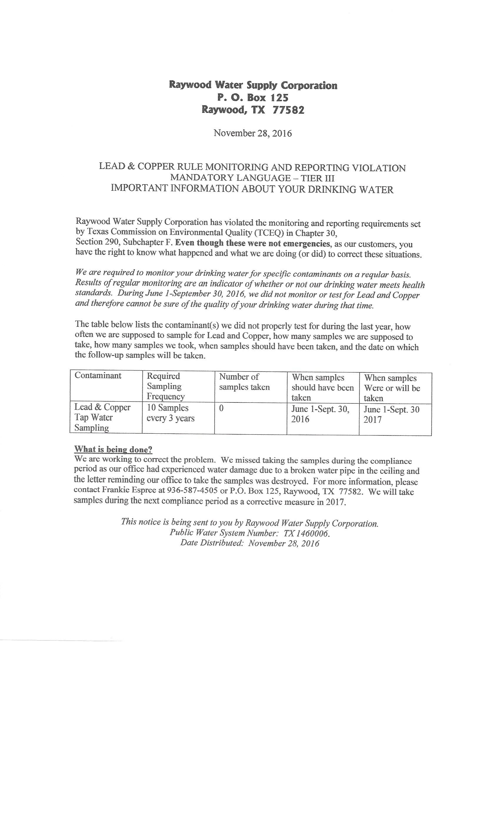 All forms reports raywood water supply corporation lead copper notice to customers spiritdancerdesigns Gallery